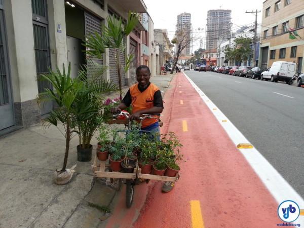 Transportando plantas, flores e até mudas de árvore na bicicleta. A cidade sendo de todos. Foto: Willian Cruz