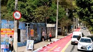 Ciclovia na Av. Francisco Falconi, na V. Prudente, em local próximo à interligação com a ciclovia que segue sob o monotrilho da Av. Anhaia Melo. Foto: Rachel Schein