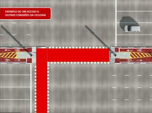 Ilustração mostra como serão as conexões da ciclovia da Av. Paulista com as demais. Image: CET/Reprodução