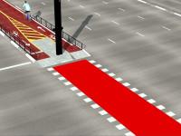 Detalhe da sinalização que será aplicada junto aos cruzamentos. Imagem: CET/Reprodução
