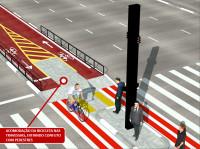 Detalhe da sinalização que será aplicada na ciclovia da Av. Paulista, nos pontos com travessia de pedestres. Imagem: CET/Reprodução