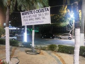 Mensagem deixada por ciclistas de Fortaleza é recado a todos os cidadãos. Foto: Massa Crítica de Fortaleza