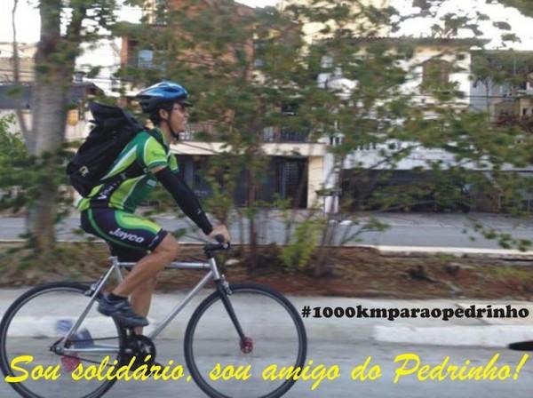 O bike courier Giovane pretende arrecadar pelo menos R$ 1 por cada quilômetro pedalado. Foto: Divulgação