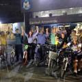 Ciclistas comemoram a conquista da primeira viagem com a bicicleta durante a semana. Foto: RioBikeClub