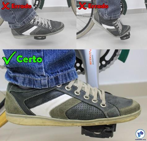 É importante pisar com a parte certa do pé no pedal, para obter um melhor rendimento e evitar dores. Foto: Shimano/Vá de Bike