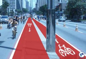 Simulação de como deve ficar a ciclovia da Av. Paulista. Arte: Vá de Bike
