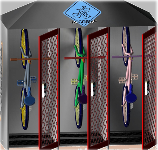 Bicicletário desenvolvido pela Ascobike prevê abertura e fechamento por biometria. Imagem: Divulgação