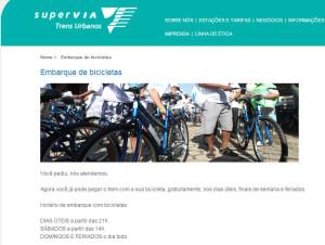 Site da Supervia informa novos horários. Imagem: Reprodução