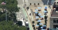 Ciclofaixa e area para pedestres Nova York. Foto: Loorzboy (cc)