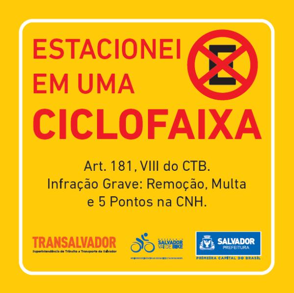 Adesivo da campanha #estacioneinaciclofaixa, da prefeitura de Salvador (BA). Imagem: Divulgação
