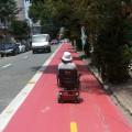 Cadeirante na ciclovia da R. França Pinto, na zona sul da cidade. Foto: Reynaldo Berto