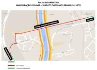 Mapa das intervenções no Viaduto Domingos Franciulli Neto, com indicação de futuras ciclovias. Imagem: SMT/Divulgação