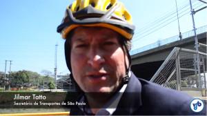 """Secretário de Transportes reforça: """"onde não tem ciclovias tem que haver o compartilhamento"""". Veja no vídeo acima. Imagem: Rachel Schein"""