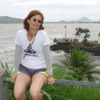 Márcia Prado em uma de suas cicloviagens.