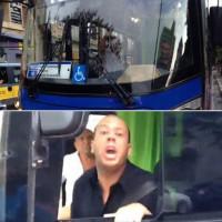 O motorista de ônibus da viação Sambaíba, que ameaçou nosso colega dizendo que o atropelaria se estivesse à frente do ônibus, sem perceber que cometia um crime só por dizer isso (Art. 147 CP). Fotos: Enzo Bertolini