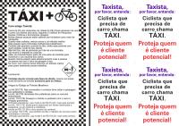 Panfleto e filipetas que serão distribuídos a taxistas. Imagem: Reprodução