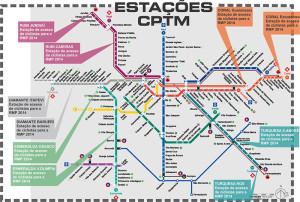 Mapa de estações da CPTM que terão atendimento especial ao ciclista no dia da Rota, com apoio até em Jundiaí. Embarque no Metrô paulistano também é permitido aos domingos. Imagem: Reprodução