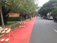 Ciclovia da Rua Honduras começou a ser sinalizada essa semana. Foto: Paula Pedrosa