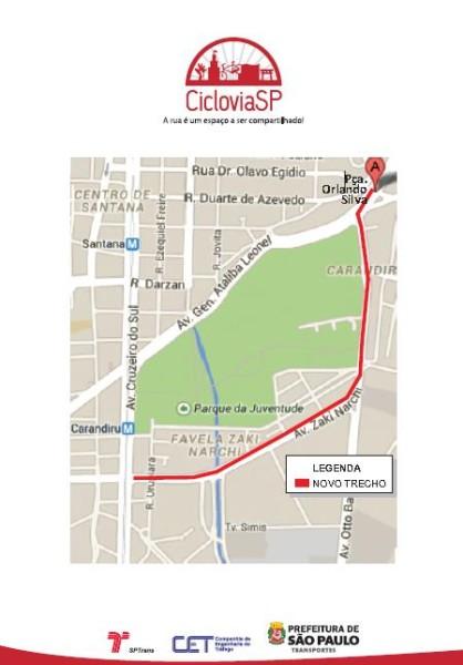 Mapa da ciclovia Zach Narchi, na zona norte de São Paulo. Imagem: Divulgação