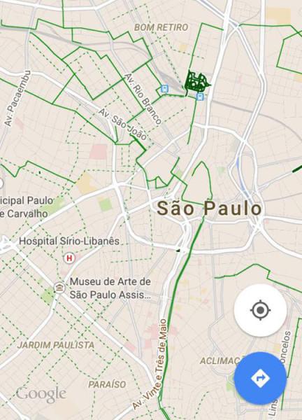 Usuários de iPhone e iPad já conseguem ver as ciclovias no Google Maps. Imagem: Gabriel Tavano Cruz