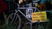 A Ghost Bike em homenagem a Márcia Prado, uma das ciclistas que faleceu na Av. Paulista atropelada por um ônibus. Foto: Carlos Aranha