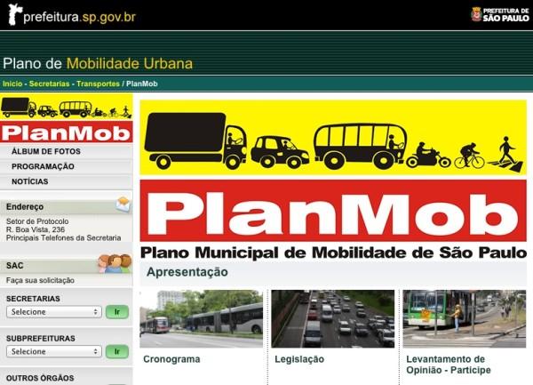 Site receberá contribuições de pessoas interessadas em interferir no plano de mobilidade da cidade. Imagem: Reprodução