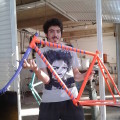 Guido e o inconfundível quadro de sua bicicleta. Foto: Arquivo pessoal