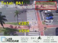 Além de mostrar em tempo real a ciclovia da Av. Faria Lima, sistema do LabProdam conta quantos ciclistas passam em cada direção. Imagem: Reprodução