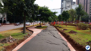 Trecho com obras de expansão da ciclovia, entre as ruas Amauri e Jorge Coelho. Foto: Willian Cruz