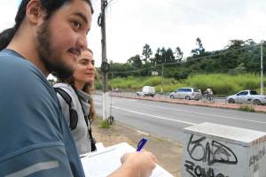 Contagem sendo realizada na ciclovia da Eliseu de Almeida. Foto: Fabio Miyata