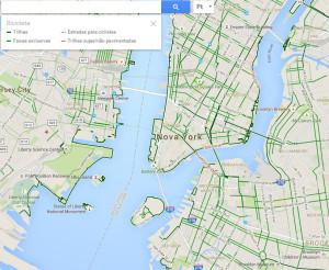 Usando a mesma ferramenta com a cidade de Nova York, os trajetos recomendados para a bicicleta aparecem desenhados sobre as vias, com legenda. Expectativa é que em breve passe a funcionar dessa forma também em nossas cidades. Imagem: Reprodução