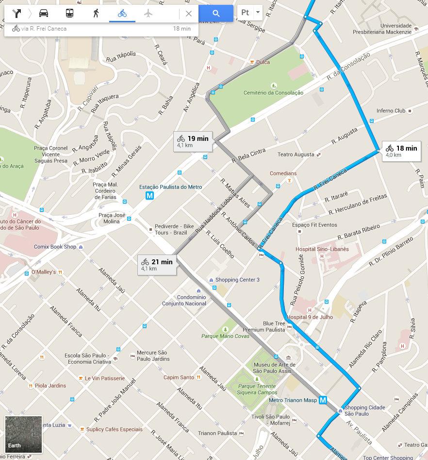 mapa trajeto Google Maps libera rotas para bicicletas, mas sistema ainda tem falhas mapa trajeto