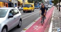 Ciclista na ciclovia da Av. Jabaquara, em São Paulo. Foto: Willian Cruz