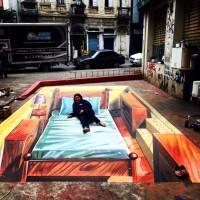 Pintura em 3D, em rua de São Paulo. Foto: Divulgação