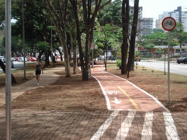 Na capital paulista, traçado de ciclovia desvia de árvores. Foto: Enzo Bertolini