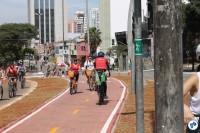 Construção em canteiro central na Rua Vergueiro é interligação com ciclovias das avenidas Bernardino de Campos e Paulista. Foto: Gulherme Venaglia