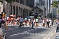 Em alguns momentos do dia, bicicletas chegaram a ocupar todas as faixas da Avenida. Foto: Gulherme Venaglia