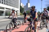 Saída da Pedalada, na Praça do Ciclista. Foto: Flavio Bonanome
