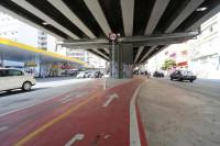 Atopelamento ocorreu na ciclovia que segue sob o Elevado Costa e Silva, o popular Minhocão. Foto: Fábio Arantes/Secom