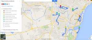 Mapa cicloviário do Recife. Imagem: Google Maps