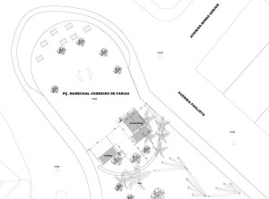 Planta mostra localização do bicicletário e da cozinha na praça. Imagem: PMSP/Divulgação