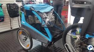 Trailer da Thule, acoplado a uma bicicleta. Foto: Willian Cruz