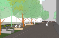 Projeto prevê áreas em que o pedestre, mesmo na rua, tem prioridade sobre veículos motorizados. Imagem: AR Arquitetos
