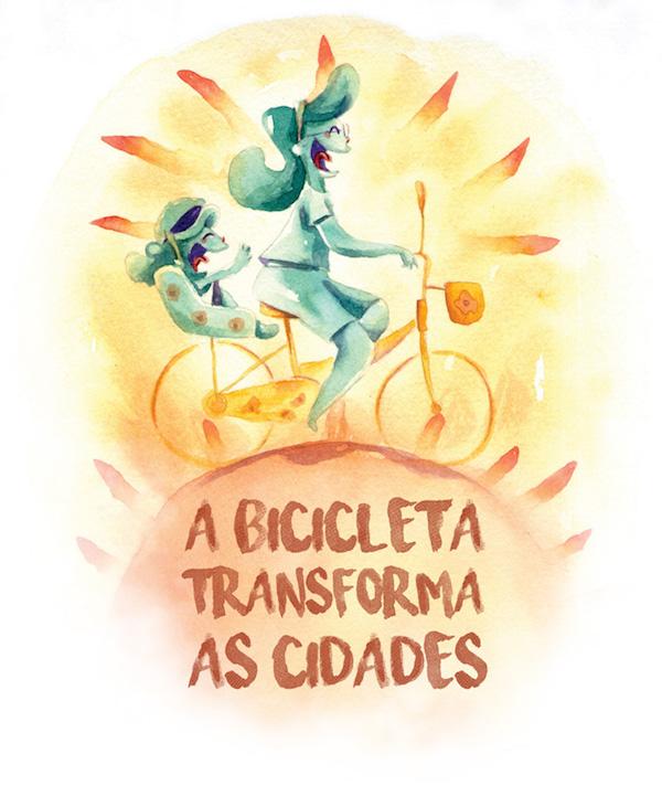 Livro busca mostrar às crianças que a bicicleta é um meio de transporte. Imagem: Divulgação