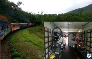 O trem que leva de Morretes a Curitiba tem vagão adaptado para transportar bicicletas, por um pequeno adicional na passagem. Foto: Willian Cruz