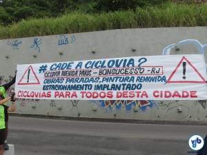 Durante a inauguração, manifestantes cobraram infraestrutura cicloviária em regiões periféricas da cidade. Foto: Fabio Nazareth