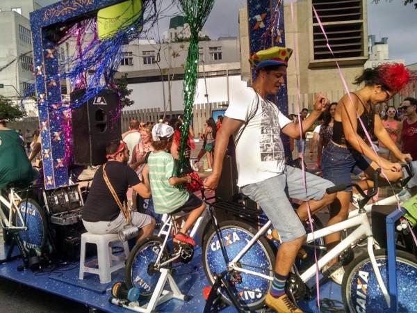 Bloco do Pedal: música movida a energia humana. Foto: Pedal Sustentável/Divulgação