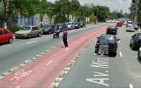 Pedestre aguarda para completar a travessia da Av. Ministro Petrônio Portela, na zona norte de São Paulo. Imagem: Google Street View/Reprodução