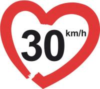Logo da campanha europeia '30km/h – making streets liveable!'. Imagem: Divulgação