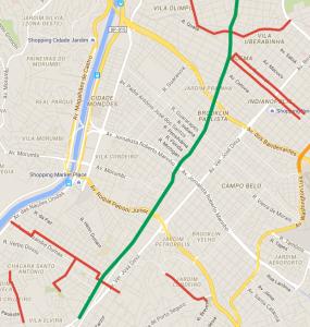 Em verde, a Avenida Santo Amaro; em vermelho, as alternativas oferecidas pela SP Obras. Faz sentido?